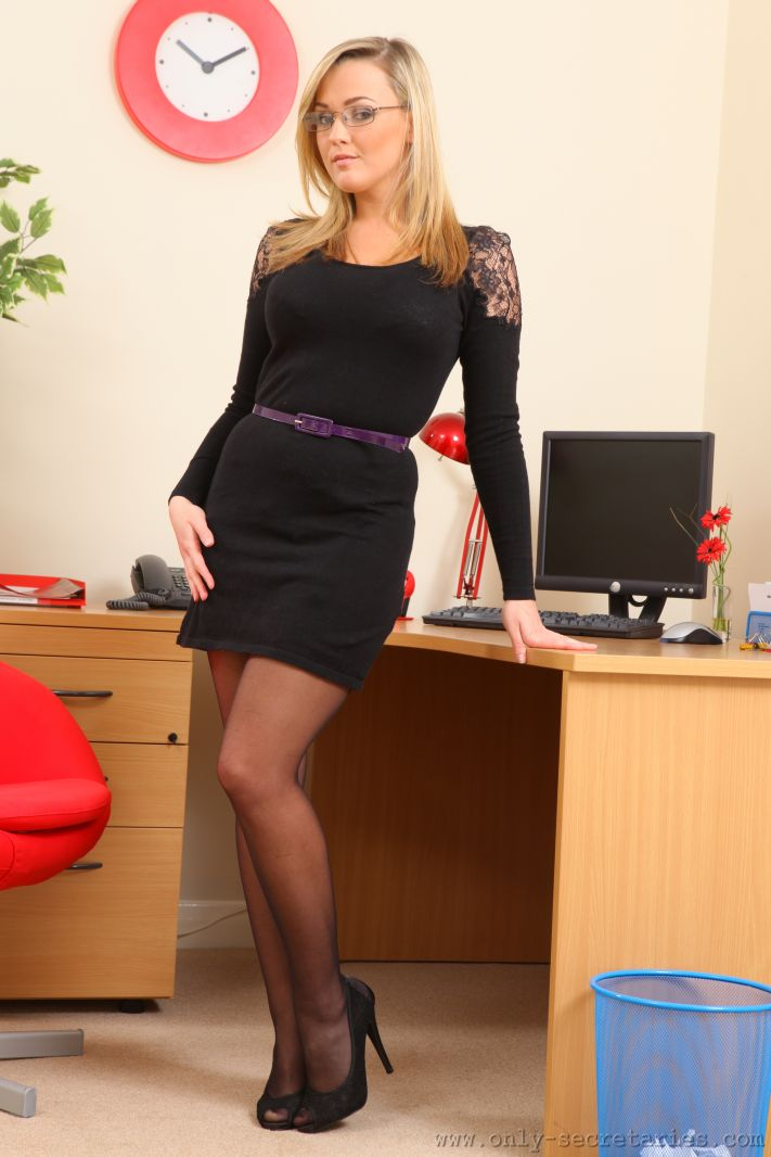 Jodie Gasson Big Boobs in Tight Black Dress as a Secretary