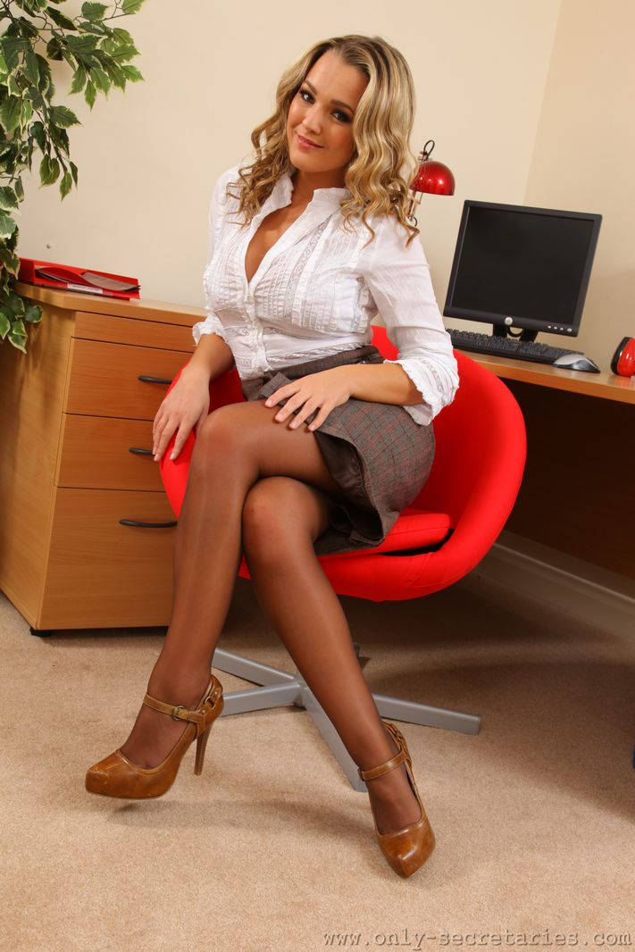 Jodie Gasson Big Tits Tight Secretary White Shirt