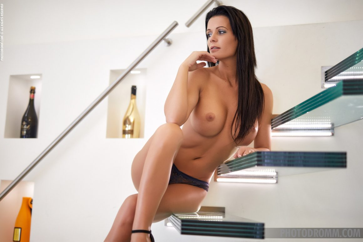 Karola Big Naked Tits on Glass Stairs for Photodromm