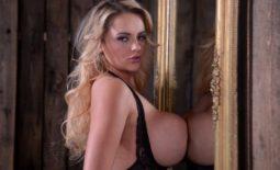 Katie Thornton Big Tits Black Lacy Lingerie