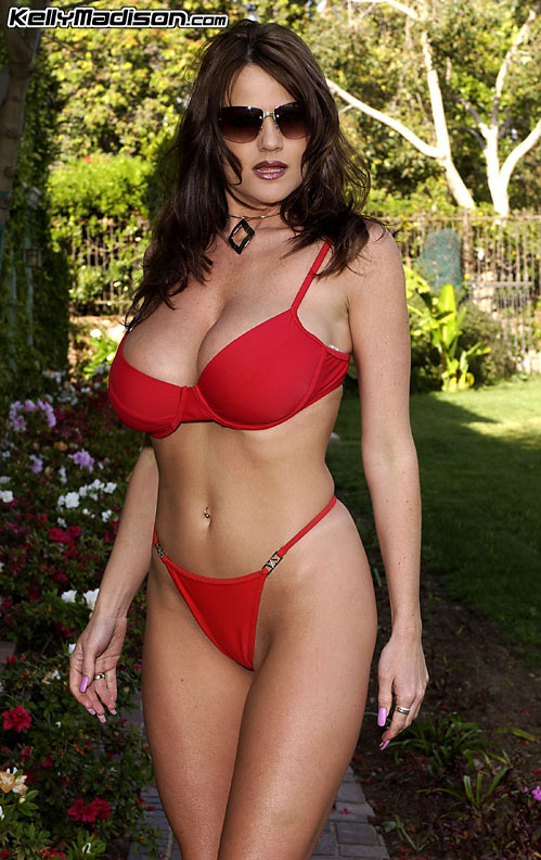 Kelly Madison Naked Huge Tits in Red Bikini and Shades