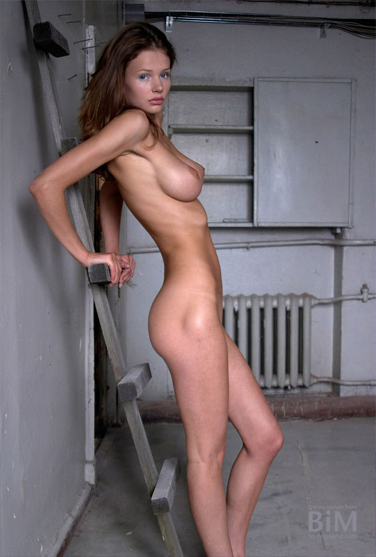Kristina Naked Big Boobs with a Ladder for Body in Mind