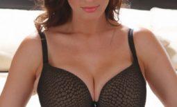 Lana Kendrick Huge Breasts in a Black Bra