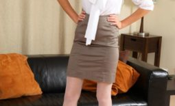 Laura Z Nice Boobs in Secretary Outfit