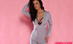 Lauren Louise Big Tits in Silky Silver Catsuit