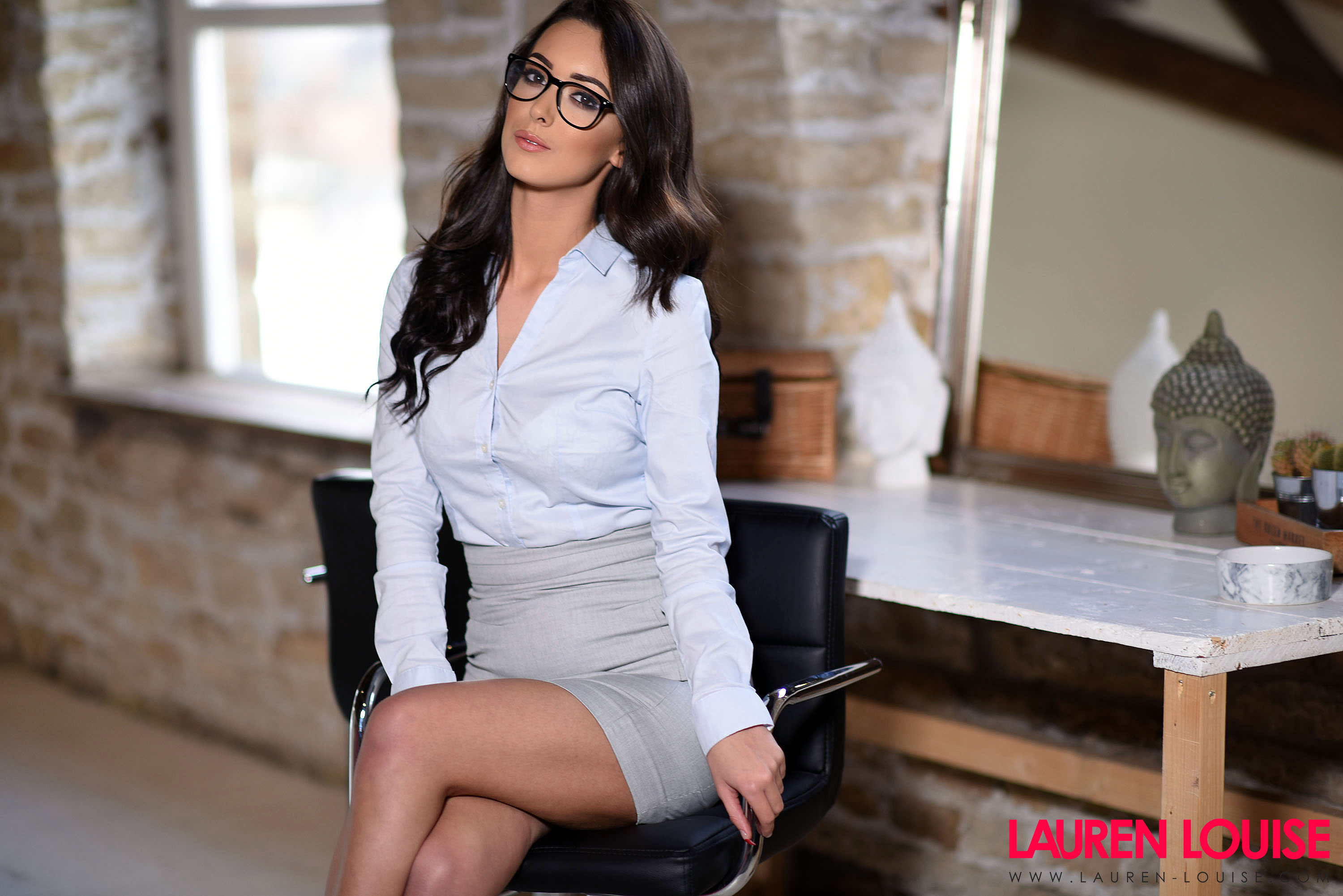 Lauren Louise Big Tits in Tight Secretary Outfit