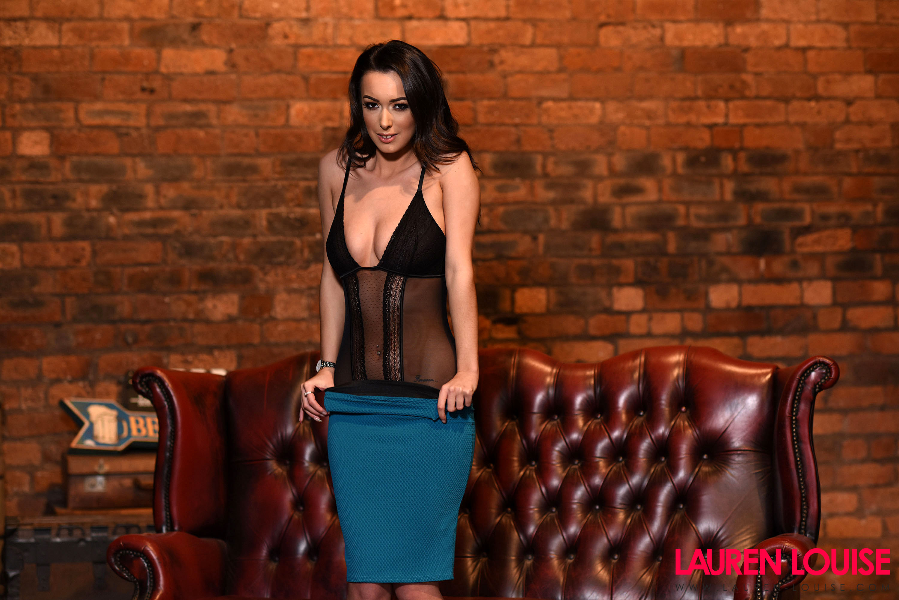 Lauren Louise Perky Breasts Black Lingerie and Tight Turquoise Skirt