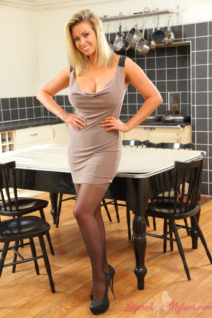 Leah Frances Big Boobs Tight Dress High Heels and Stockings