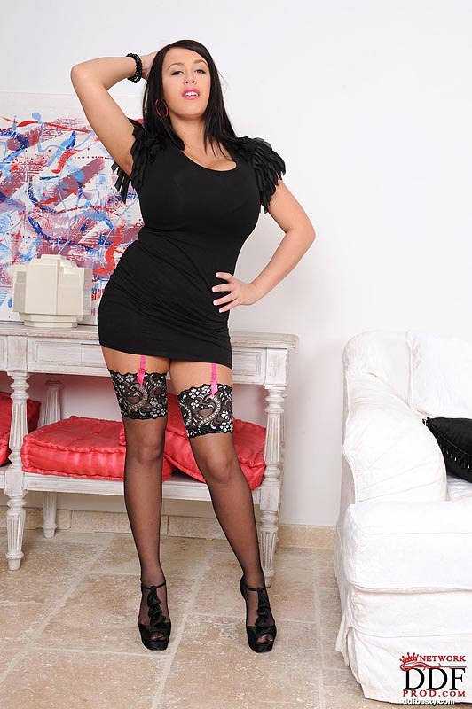 Leanne Crow Huge Boobs Black Minidress and Stockings
