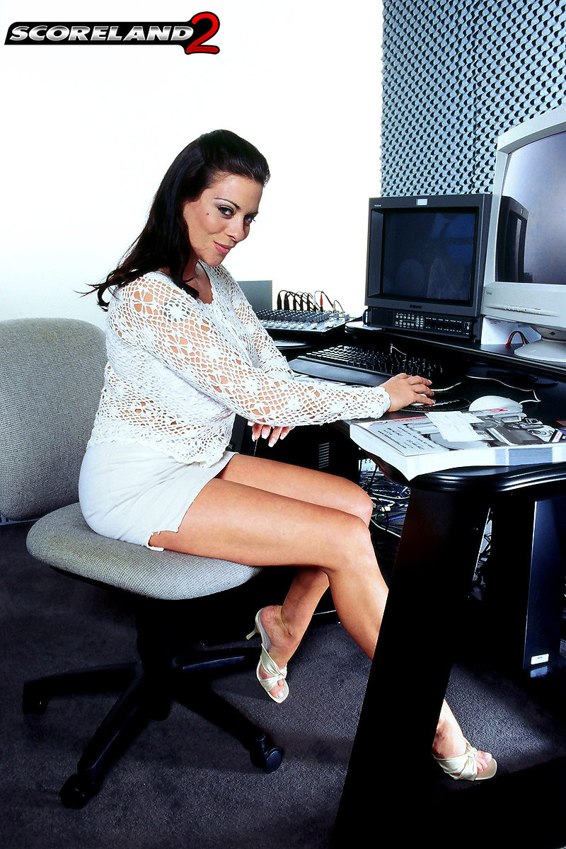 Linsey Dawn McKenzie Huge Boob Secretary in White Minidress