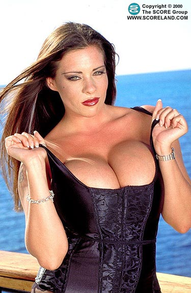 Linsey Dawn McKenzie Huge Boobs in Tight Black Basque
