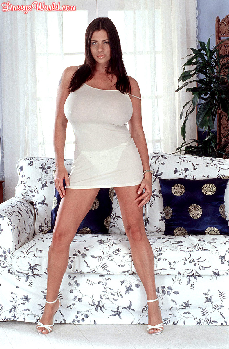 Linsey Dawn McKenzie Huge Boobs in White Minidress