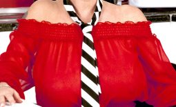 Linsey Dawn McKenzie Huge Boobs with a Tie Hanging Between them