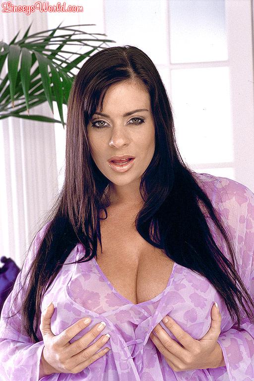 Linsey Dawn McKenzie Huge Breasts in a Lilac Nightie