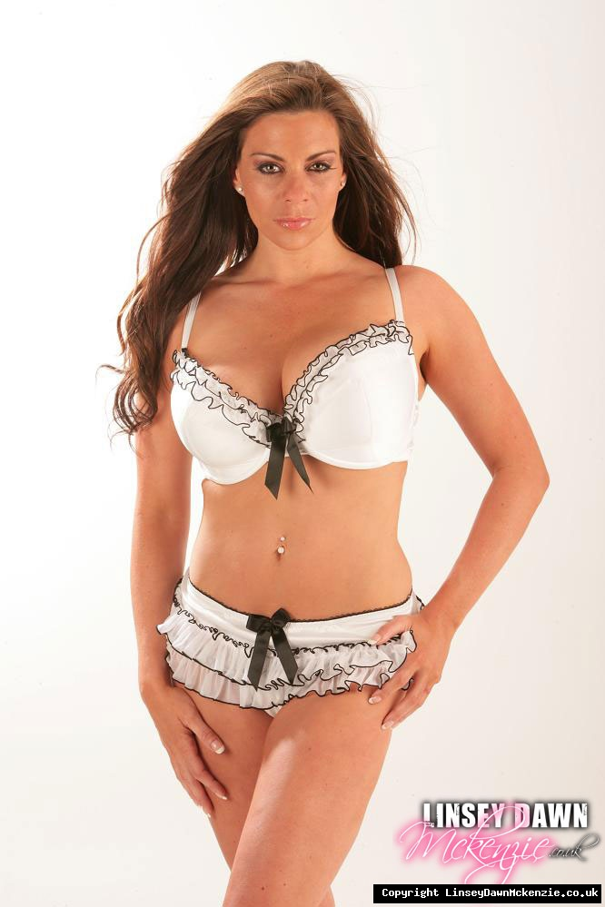 Linsey Dawn McKenzie Huge Tits in White Bra Plus Frilly Knickers