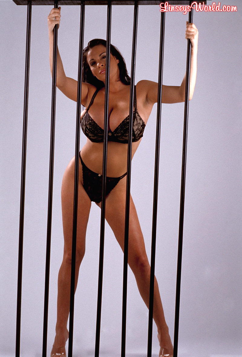 Linsey Dawn McKenzie Huge Tits in a Black Bra Behind Bars