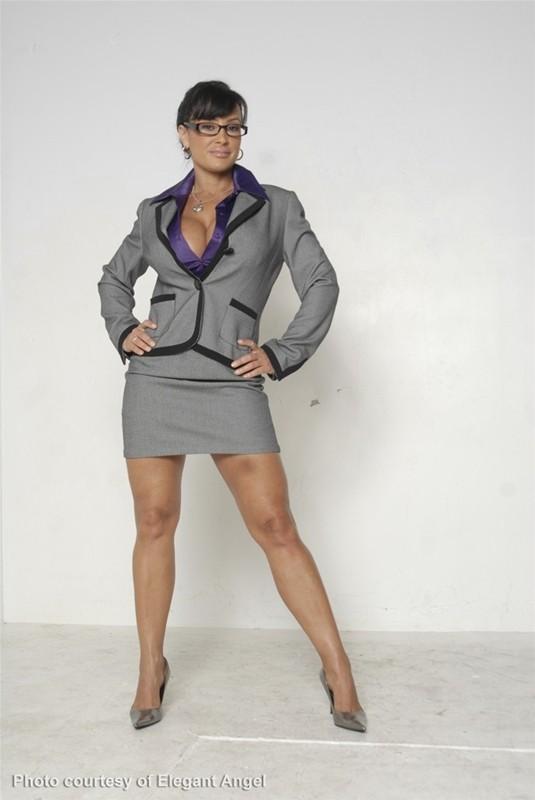 Lisa Ann Big Boobs Purple Shirt and Miniskirt