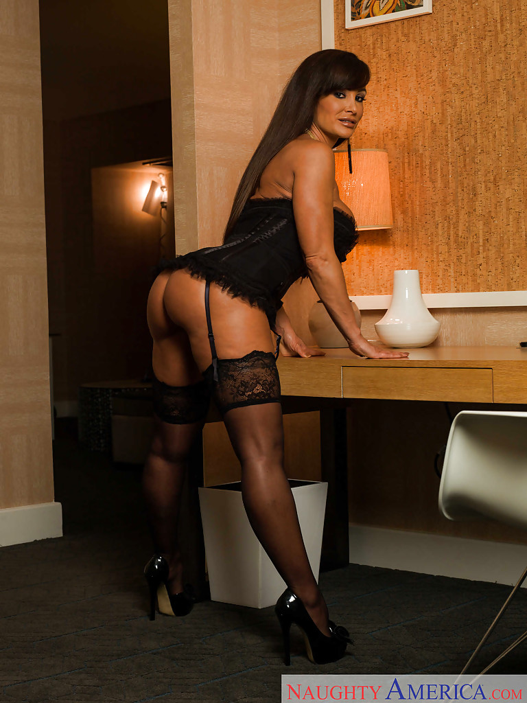 Lisa Ann Big Tits Black Basque, Stockings and High Heels