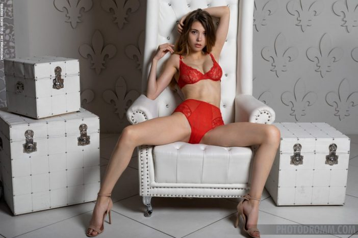 MIla Azul Naked Boobs in Red Bra and Panties for Photodromm