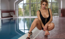 Margot Big Boobs Naked in High Heels at the Pool