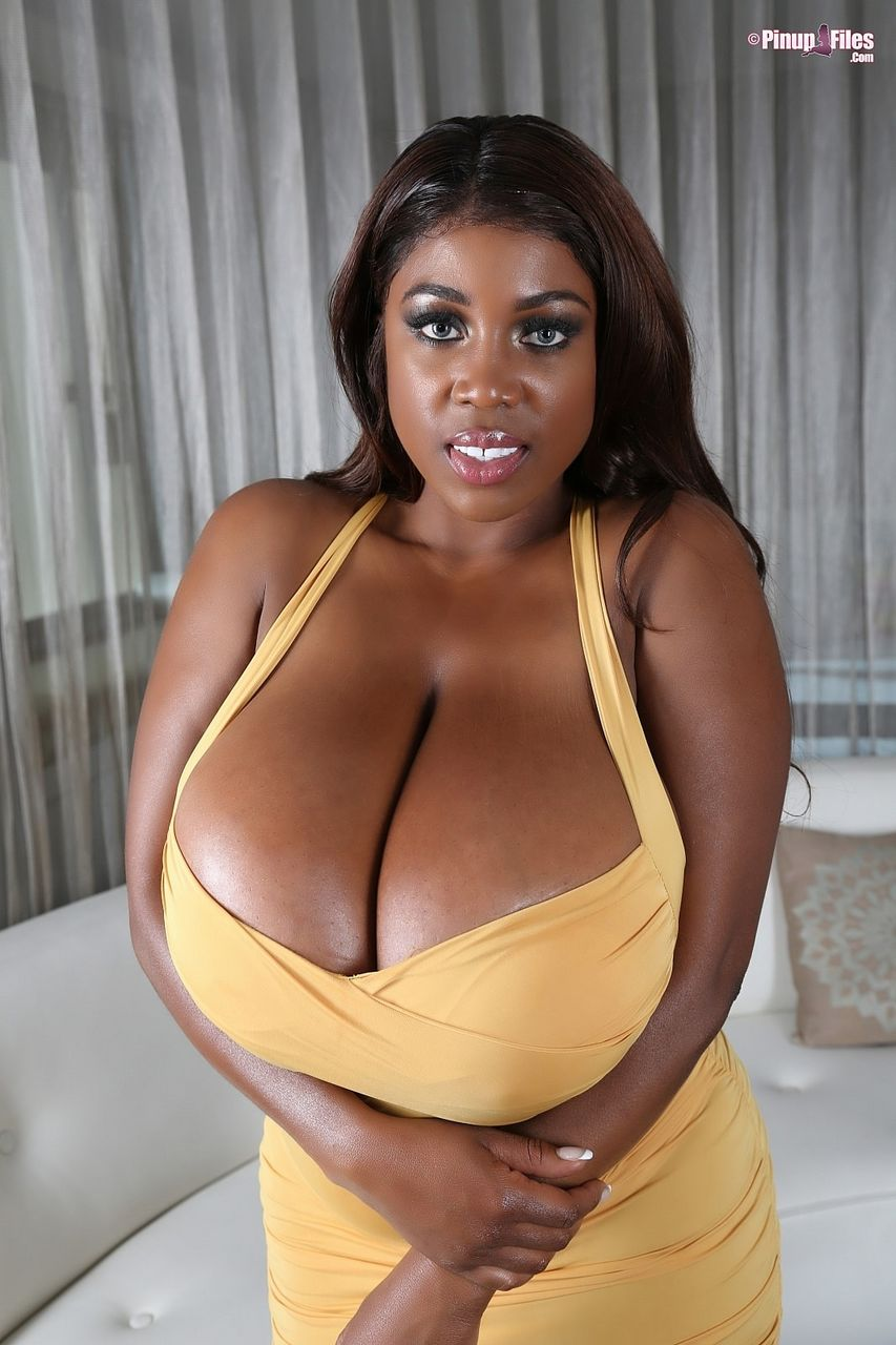 Maserati Massive Breasts Spilling out of Tight Yellow Dress