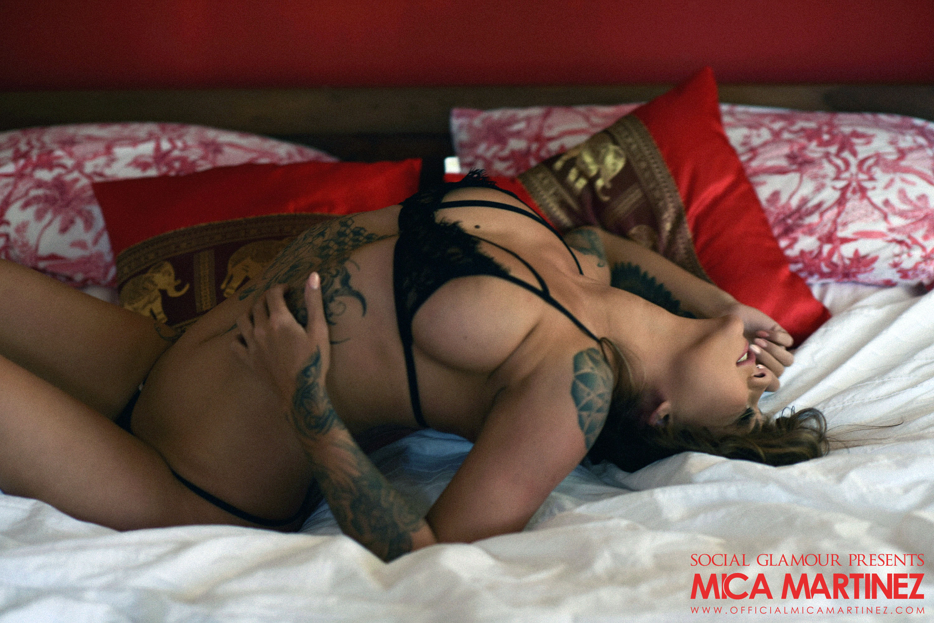 Mica Martinez Big Boobs Black Lingerie on a Bed