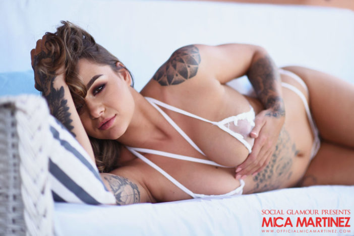 Mica Martinez Big Breasts in Sexy Seethrough White Lingerie