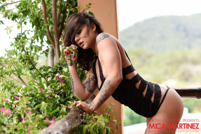 Mica Martinez Nice Boobs Sexy Black Cutout Dress