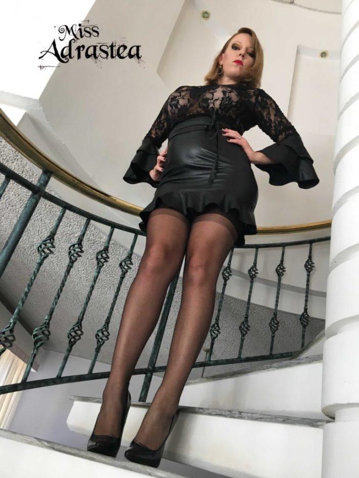 Miss Adrastea Big Boobs Black Stockings and High Heels