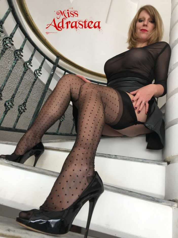 Miss Adrastea Big Boobs and Polka Dot Stockings