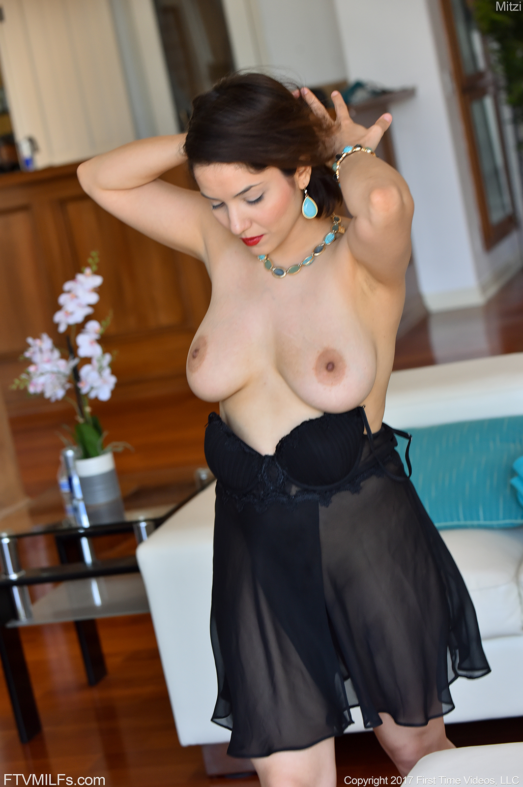 Mitzi Big Boobs Black Dress and High Heels for FTV Milfs