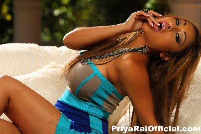 Priya Rai Big Tits Sexy Blue Dress