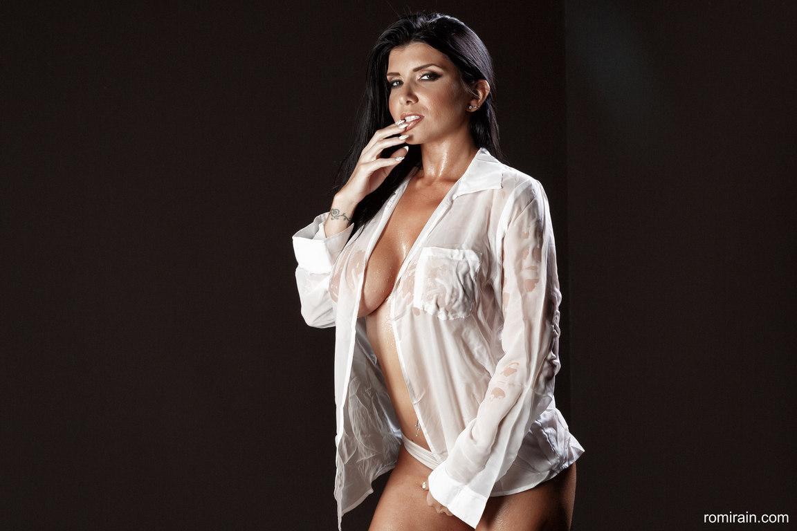 Romi Rain Big Boobs in Seethrough White Shirt