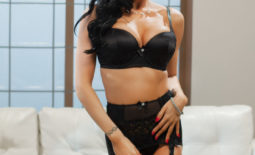 Romi Rain Big Boobs in Sexy Black Lingerie and Stockings