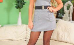 Samantha F Nice Boobs in Tight Grey Secretary Dress for Only Secretaries