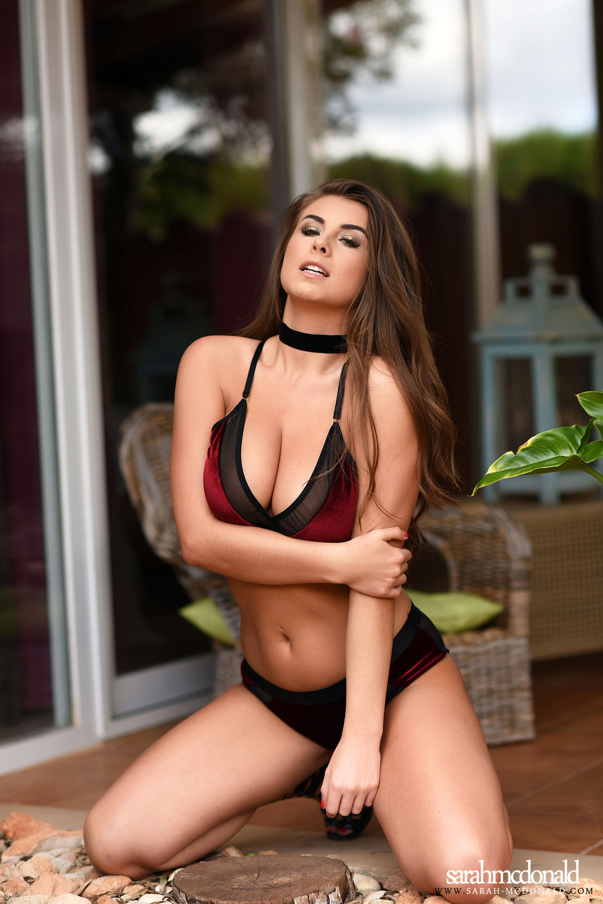 Sarah McDonald Big Boobs in a Red Velvet Bra