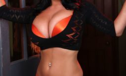 Sarah Nicola Randall Huge Tits Orange Bra and Panties