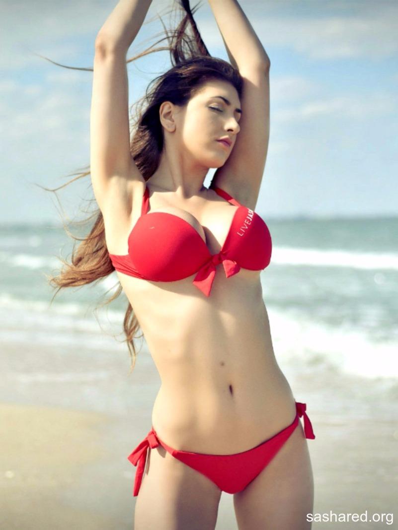 Sasha Red Big Tits in Red Bikini