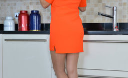 Sensual Jane Big Tits Come Out of Orange Dress