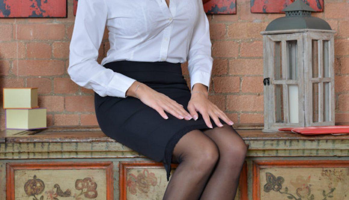 Sensual Jane Big Tits Miniskirt Secretary in High Heels