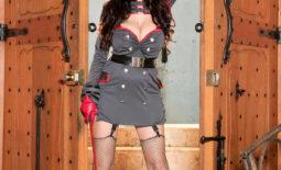 Sha Rizel Huge Boobs Military Uniform and Stockings
