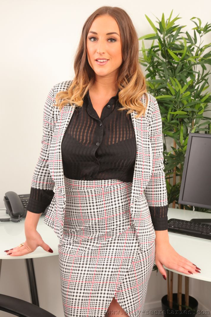 Stacey Poole Huge Boob Secretary in Tight Skirt and Top
