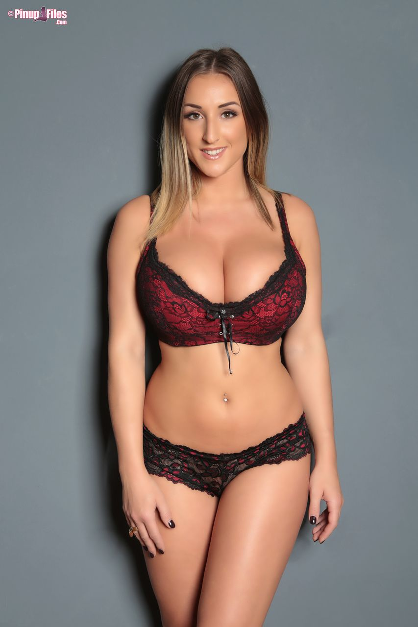 Stacey Poole Huge Tits in Burgundy Bra and Panties