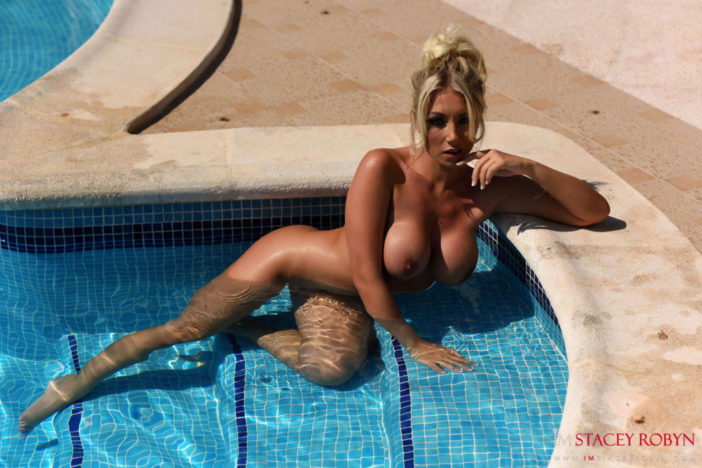 Stacey Robyn Big Boobs Red Swimsuit at the Pool