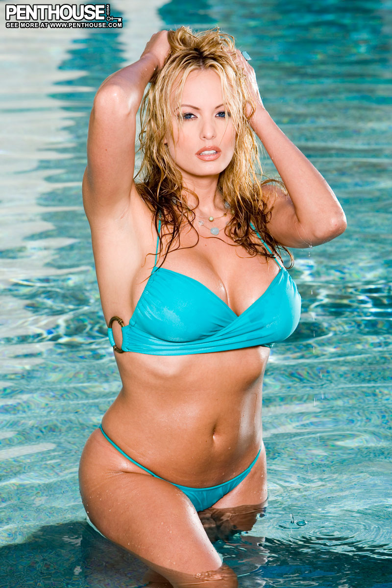Stormy Daniels Big Boobs Blue Bikini at the Pool