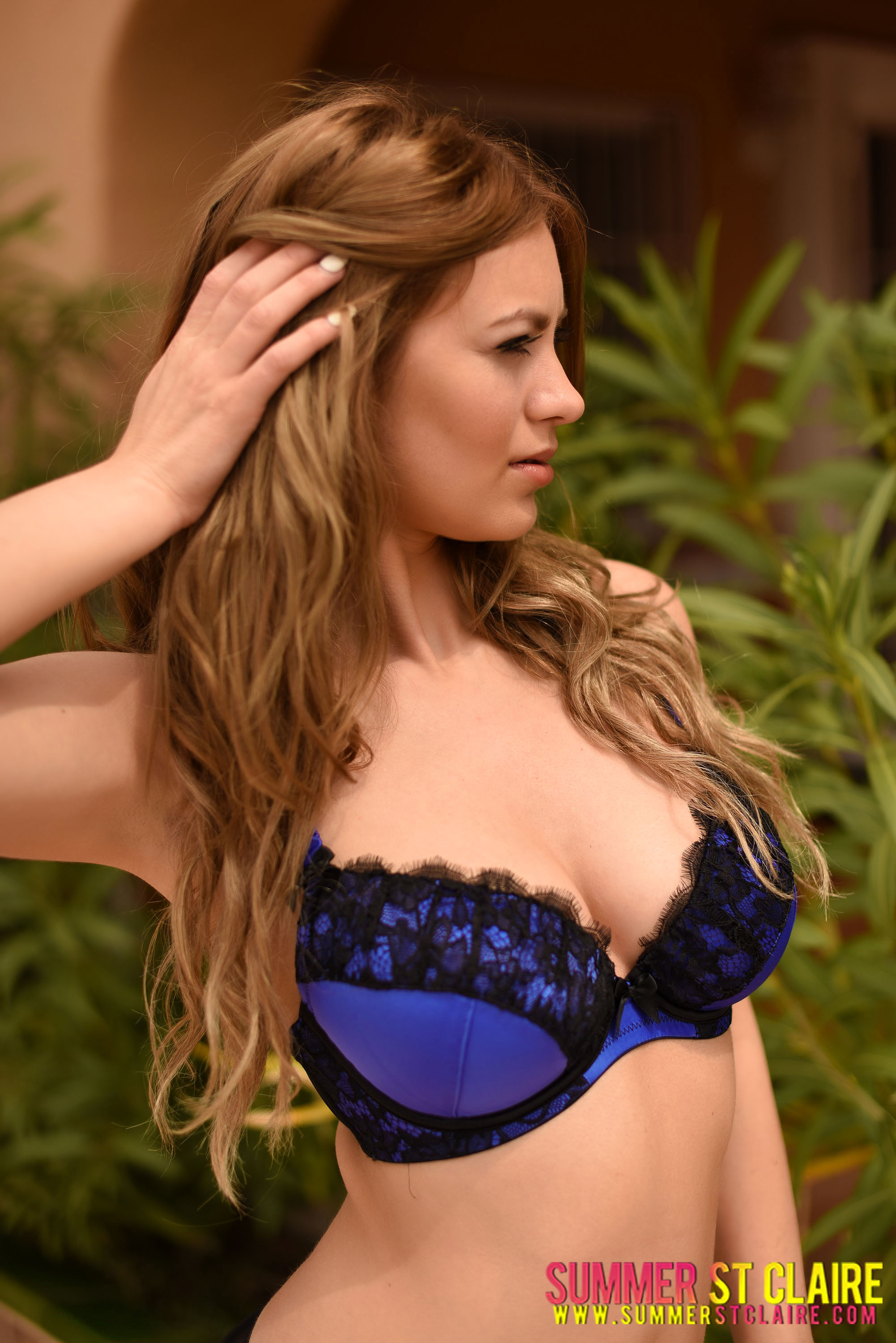 Summer St Claire Big Boobs Blue Bra and High Heels