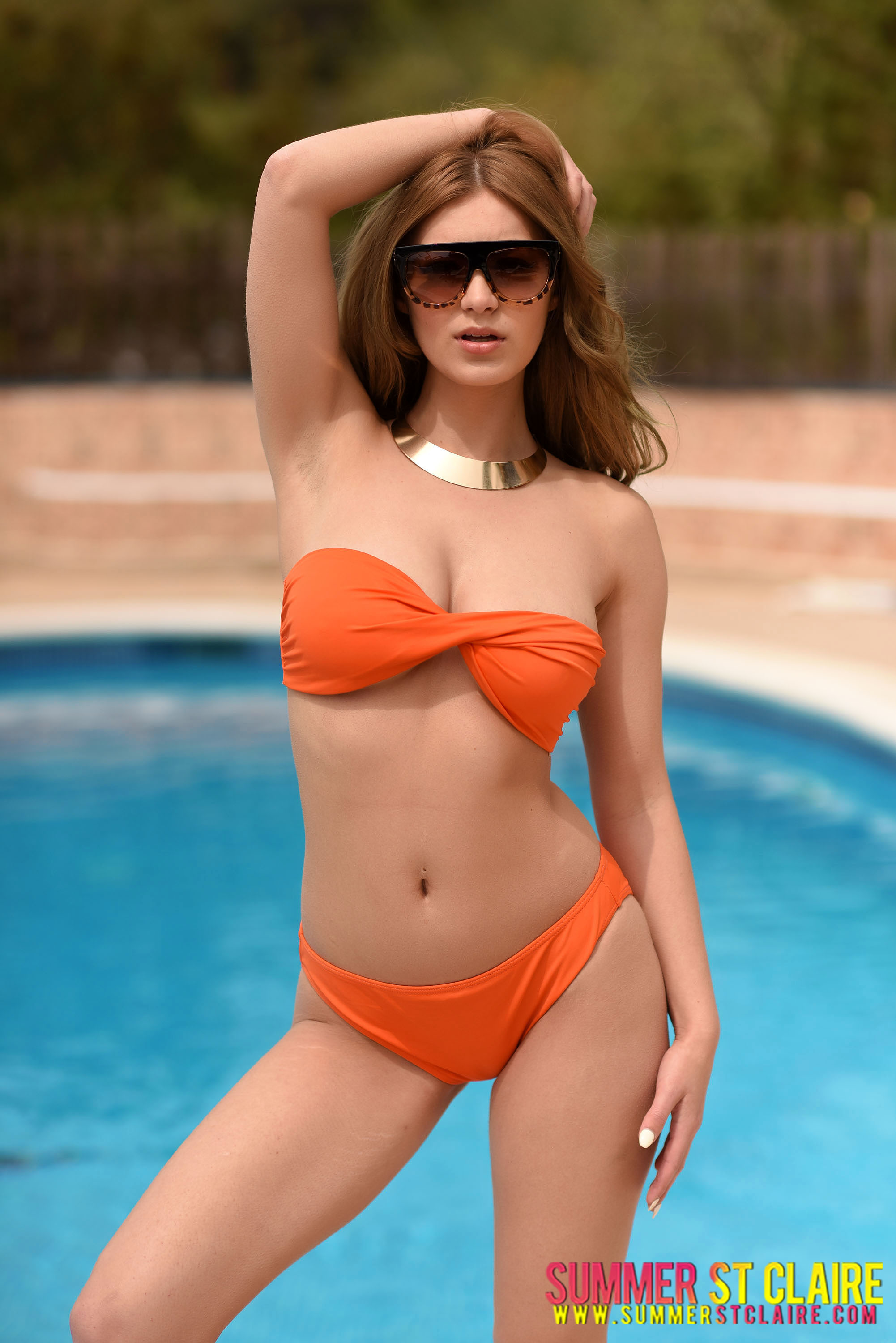 Summer St Claire Big Boobs in Orange Bikini by the Pool