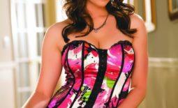 Taylor Vixen Big Boobs Pink Corset and Fishnet Stockings