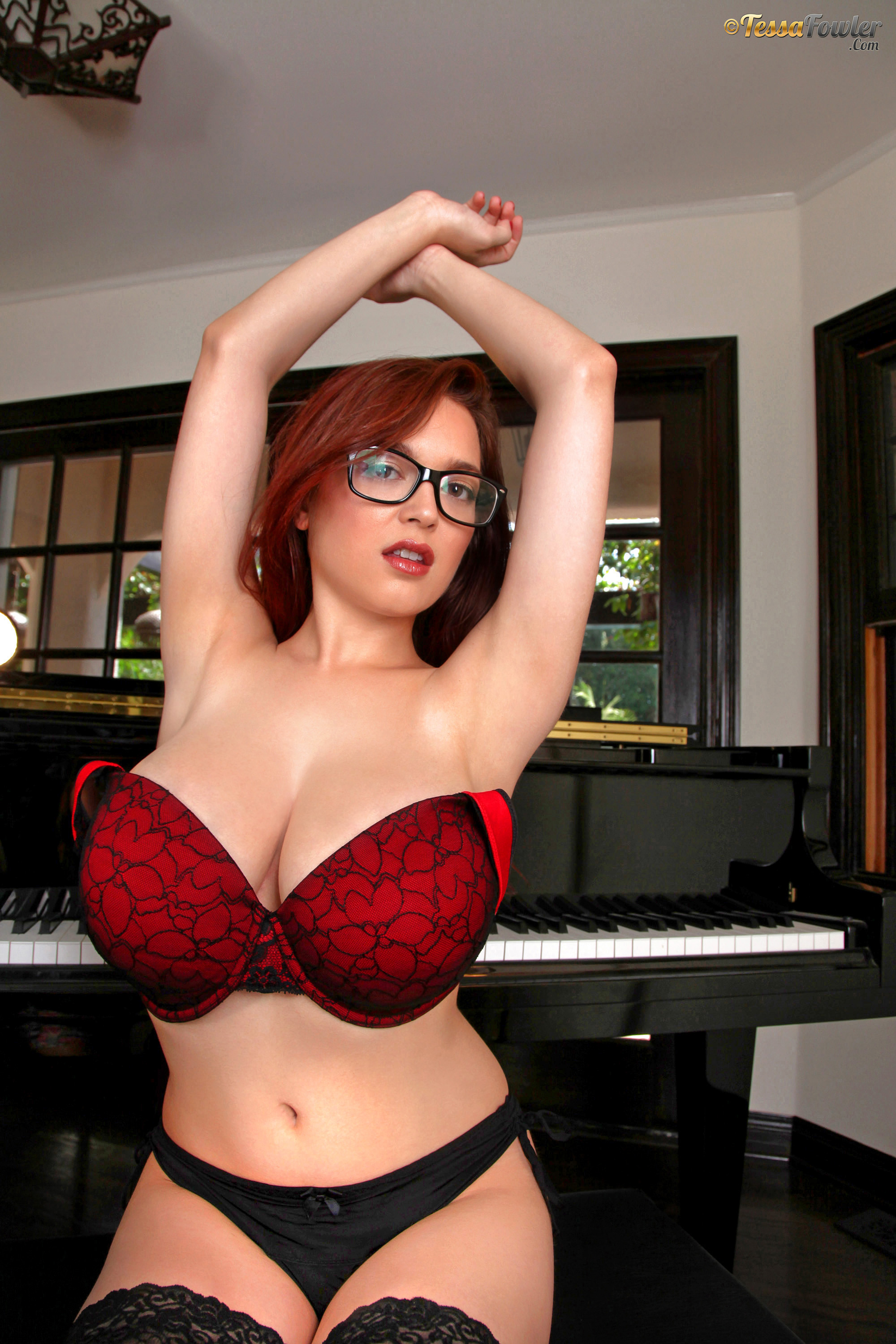 Tessa Fowler Big Boobs Red Bra Stockings and a Piano