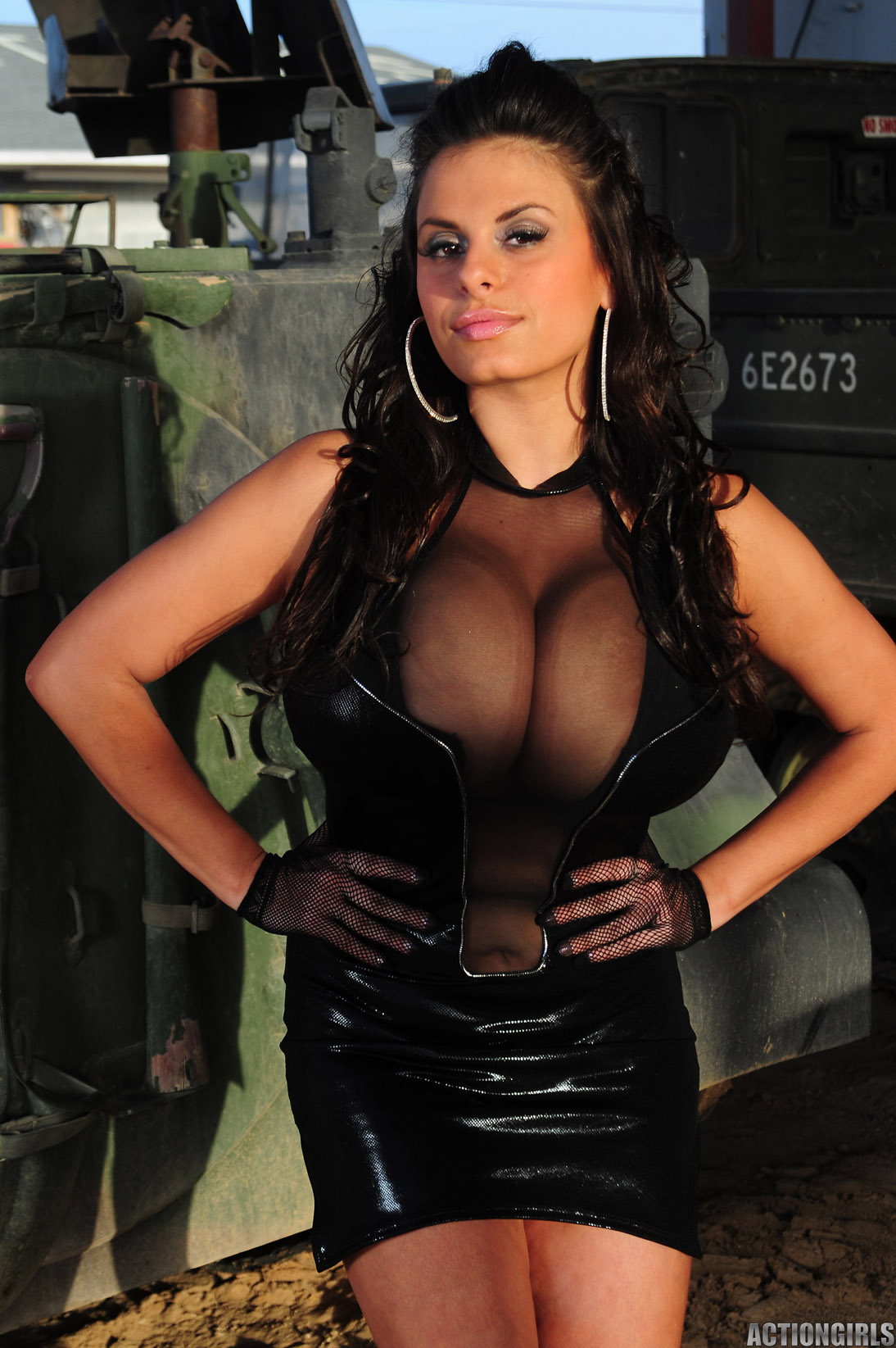 Wendy Fiore Hufe Tits in Black Vinyl Minidress for Actiongirls